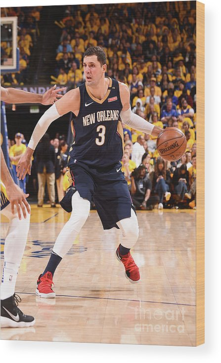 Playoffs Wood Print featuring the photograph New Orleans Pelicans V Golden State by Noah Graham