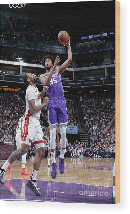 Nba Pro Basketball Wood Print featuring the photograph Miami Heat V Sacramento Kings by Rocky Widner