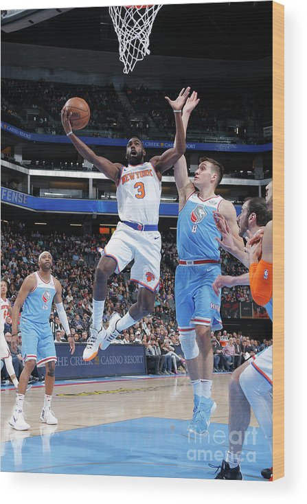 Tim Hardaway Jr. Wood Print featuring the photograph New York Knicks V Sacramento Kings by Rocky Widner