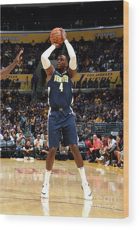 Nba Pro Basketball Wood Print featuring the photograph Denver Nuggets V Los Angeles Lakers by Andrew D. Bernstein