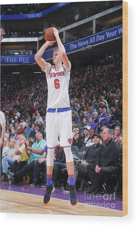 Nba Pro Basketball Wood Print featuring the photograph New York Knicks V Sacramento Kings by Rocky Widner