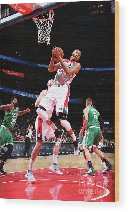Nba Pro Basketball Wood Print featuring the photograph Boston Celtics V Washington Wizards by Ned Dishman