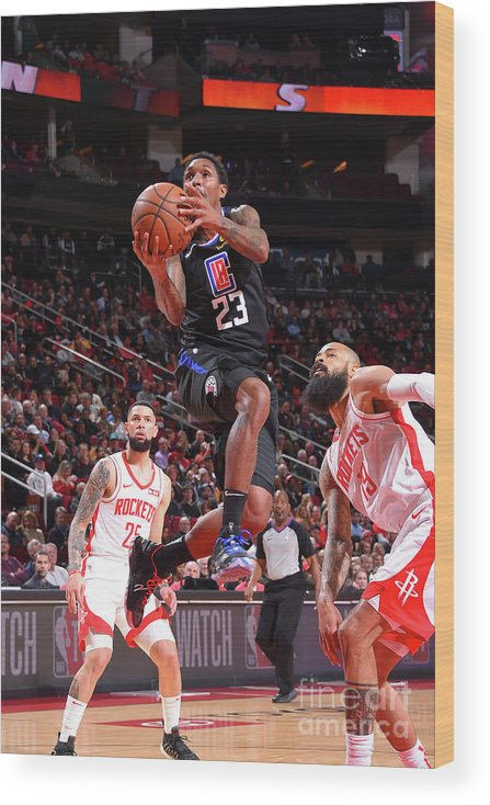 Nba Pro Basketball Wood Print featuring the photograph La Clippers V Houston Rockets by Bill Baptist