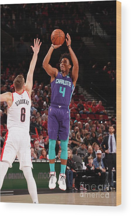 Nba Pro Basketball Wood Print featuring the photograph Charlotte Hornets V Portland Trail by Cameron Browne