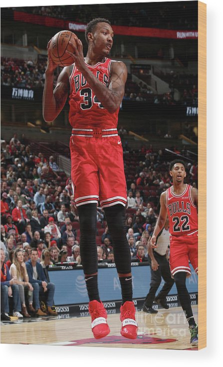 Nba Pro Basketball Wood Print featuring the photograph Denver Nuggets V Chicago Bulls by Gary Dineen