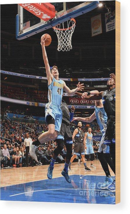 Nba Pro Basketball Wood Print featuring the photograph Denver Nuggets V Orlando Magic by Fernando Medina