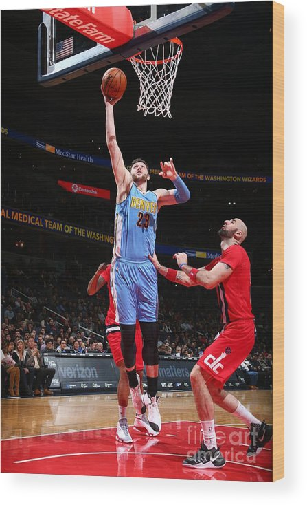 Jusuf Nurkić Wood Print featuring the photograph Denver Nuggets V Washington Wizards by Ned Dishman