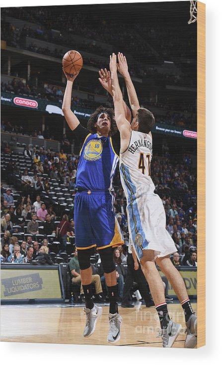 Nba Pro Basketball Wood Print featuring the photograph Golden State Warriors V Denver Nuggets by Garrett Ellwood