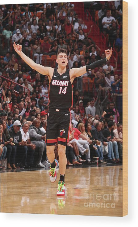 Tyler Herro Wood Print featuring the photograph Houston Rockets V Miami Heat by Issac Baldizon