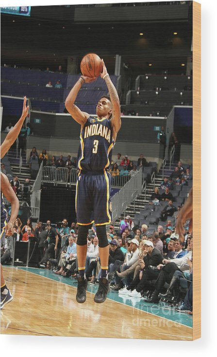 Nba Pro Basketball Wood Print featuring the photograph Indiana Pacers V Charlotte Hornets by Kent Smith