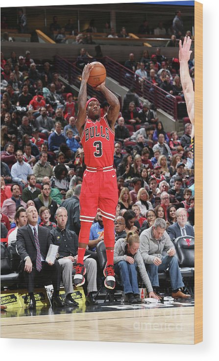 Nba Pro Basketball Wood Print featuring the photograph Indiana Pacers V Chicago Bulls by Gary Dineen