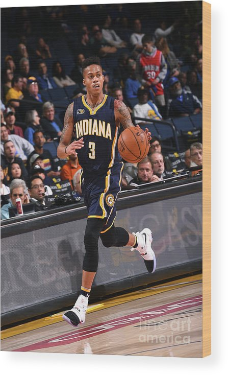 Nba Pro Basketball Wood Print featuring the photograph Indiana Pacers V Golden State Warriors by Noah Graham
