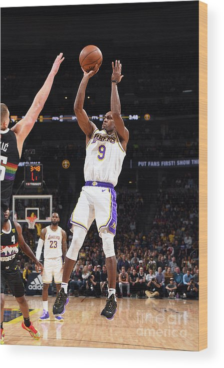 Nba Pro Basketball Wood Print featuring the photograph Los Angeles Lakers V Denver Nuggets by Garrett Ellwood