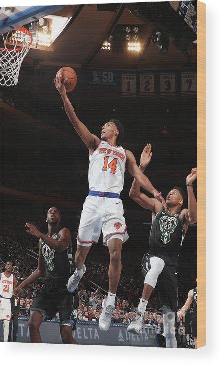 Nba Pro Basketball Wood Print featuring the photograph Milwaukee Bucks V New York Knicks by Nathaniel S. Butler