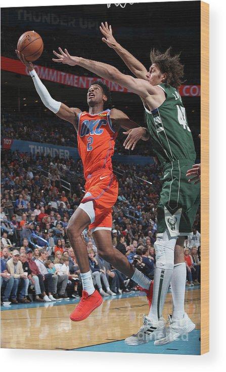 Nba Pro Basketball Wood Print featuring the photograph Milwaukee Bucks V Oklahoma City Thunder by Zach Beeker