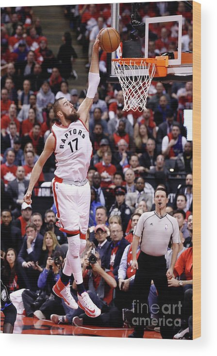 Playoffs Wood Print featuring the photograph Milwaukee Bucks V Toronto Raptors - by Mark Blinch