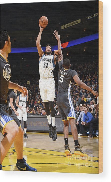 Nba Pro Basketball Wood Print featuring the photograph Minnesota Timberwolves V Golden State by Andrew D. Bernstein