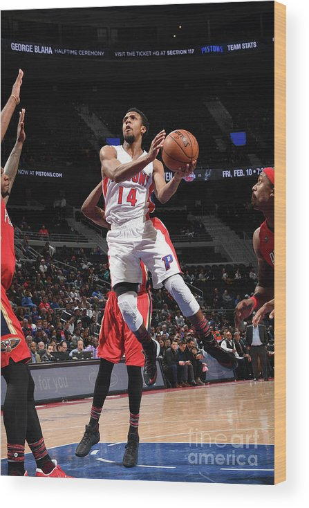 Nba Pro Basketball Wood Print featuring the photograph New Orleans Pelicans V Detroit Pistons by Chris Schwegler