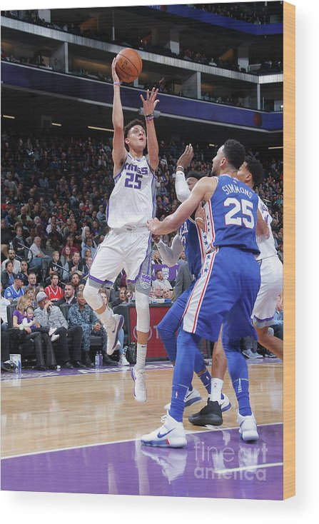 Nba Pro Basketball Wood Print featuring the photograph Philadelphia 76ers V Sacramento Kings by Rocky Widner