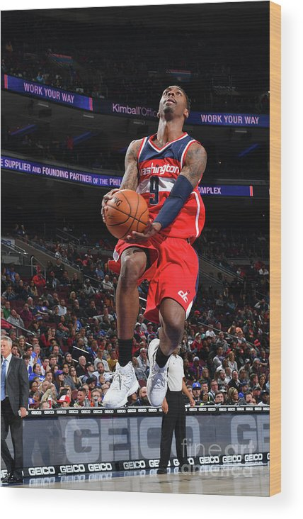 Nba Pro Basketball Wood Print featuring the photograph Philadelphia 76ers V Washington Wizards by Jesse D. Garrabrant