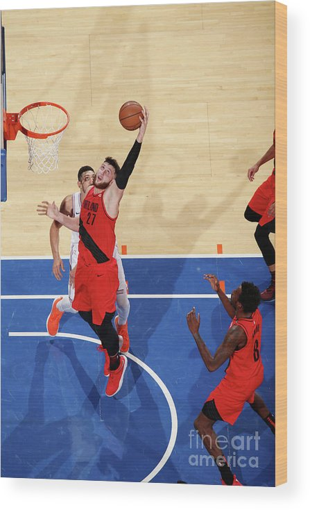 Jusuf Nurkić Wood Print featuring the photograph Portland Trail Blazers V New York Knicks by Nathaniel S. Butler