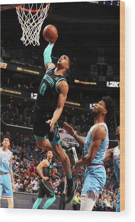 Nba Pro Basketball Wood Print featuring the photograph Sacramento Kings V Charlotte Hornets by Kent Smith