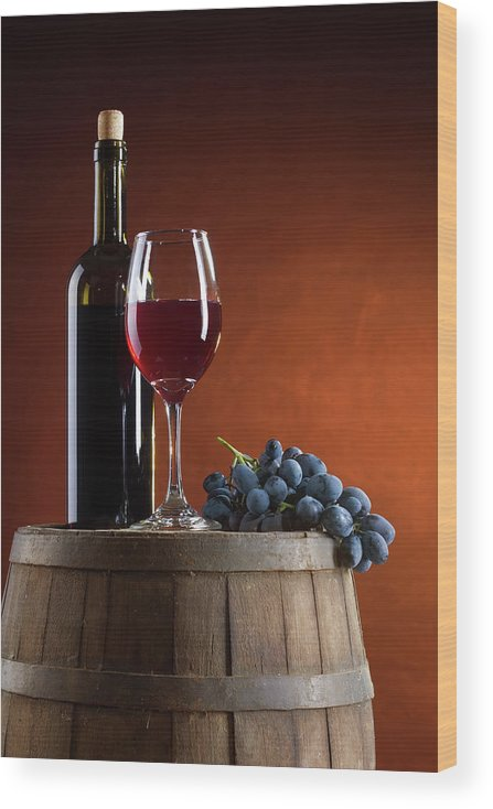 Rose Wine Wood Print featuring the photograph White Wine Composition by Valentinrussanov