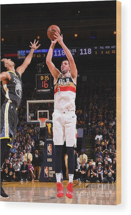 Nba Pro Basketball Wood Print featuring the photograph New Orleans Pelicans V Golden State by Noah Graham