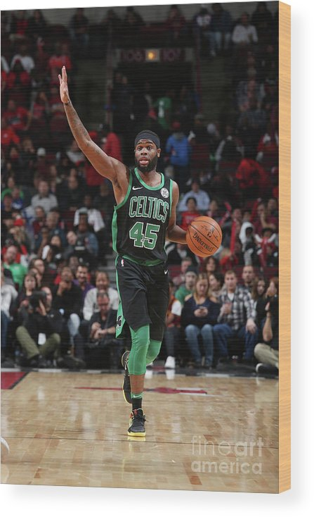 Nba Pro Basketball Wood Print featuring the photograph Boston Celtics V Chicago Bulls by Gary Dineen