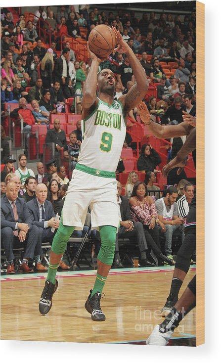 Nba Pro Basketball Wood Print featuring the photograph Boston Celtics V Miami Heat by Oscar Baldizon