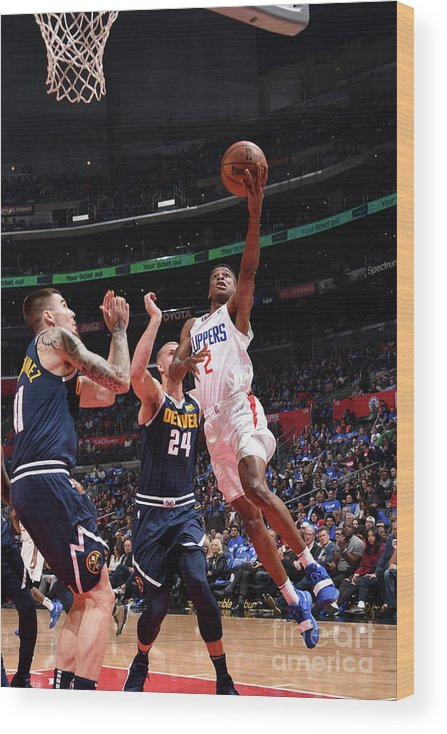 Nba Pro Basketball Wood Print featuring the photograph Denver Nuggets V La Clippers by Adam Pantozzi