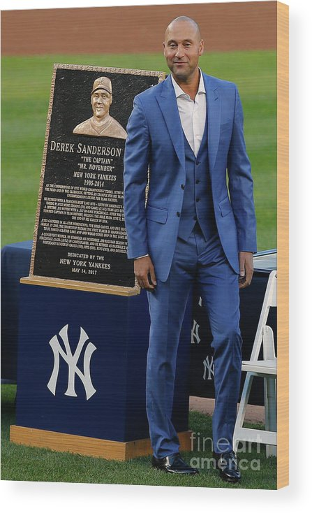 People Wood Print featuring the photograph Derek Jeter Ceremony by Rich Schultz