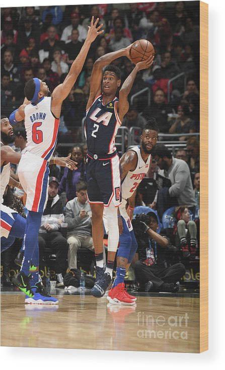 Nba Pro Basketball Wood Print featuring the photograph Detroit Pistons V La Clippers by Andrew D. Bernstein