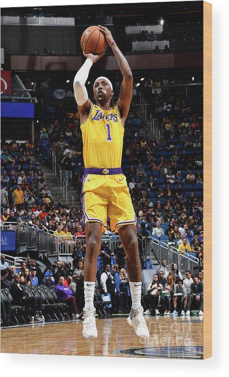 Nba Pro Basketball Wood Print featuring the photograph Los Angeles Lakers V Orlando Magic by Fernando Medina