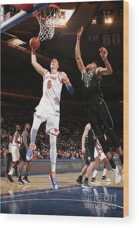Nba Pro Basketball Wood Print featuring the photograph Milwaukee Bucks V New York Knicks by Ned Dishman