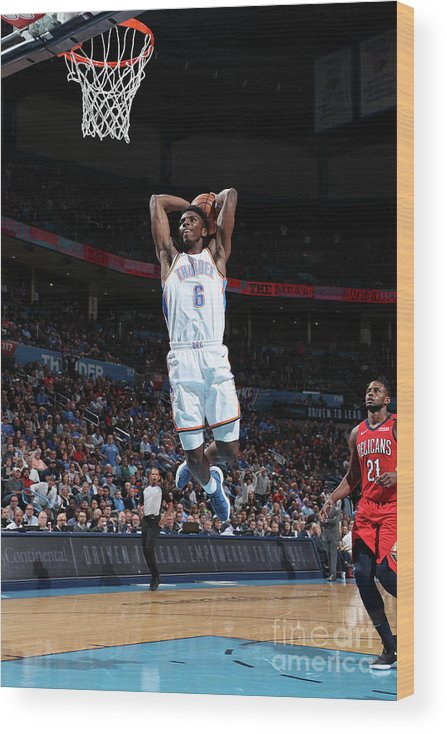 Nba Pro Basketball Wood Print featuring the photograph New Orleans Pelicans V Oklahoma City by Joe Murphy