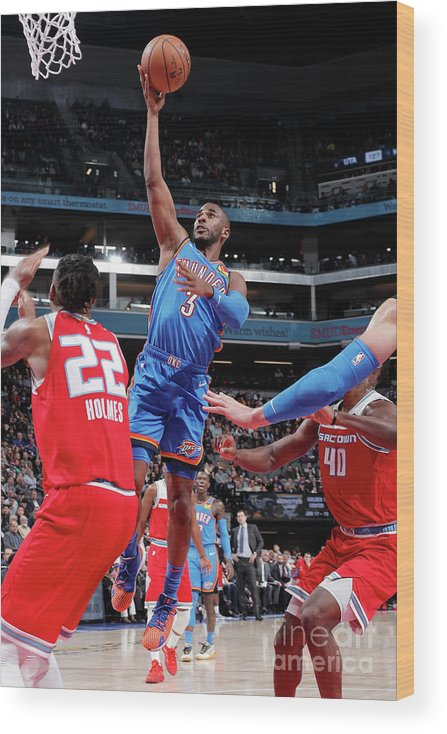 Nba Pro Basketball Wood Print featuring the photograph Oklahoma City Thunder V Sacramento Kings by Rocky Widner