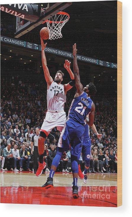 Nba Pro Basketball Wood Print featuring the photograph Philadelphia 76ers V Toronto Raptors by Mark Blinch