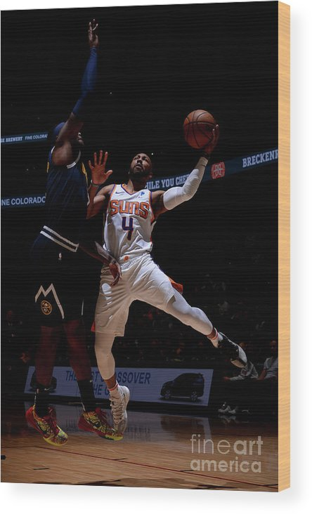Nba Pro Basketball Wood Print featuring the photograph Phoenix Suns V Denver Nuggets by Bart Young