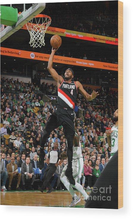 Moe Harkless Wood Print featuring the photograph Portland Trail Blazers V Boston Celtics by Brian Babineau