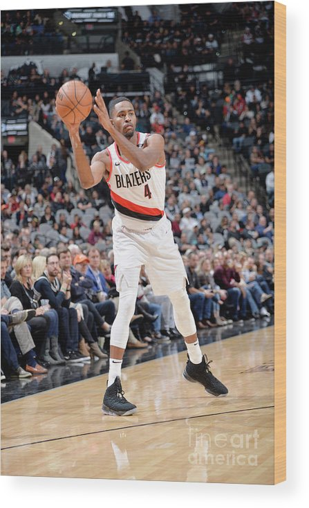 Moe Harkless Wood Print featuring the photograph Portland Trail Blazers V San Antonio by Mark Sobhani