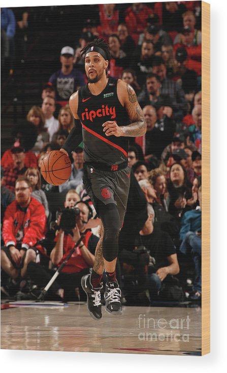 Nba Pro Basketball Wood Print featuring the photograph Sacramento Kings V Portland Trail by Cameron Browne