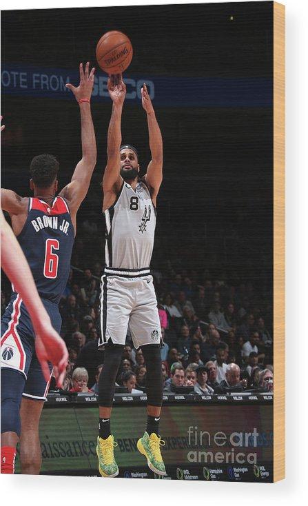 Nba Pro Basketball Wood Print featuring the photograph San Antonio Spurs V Washington Wizards by Ned Dishman
