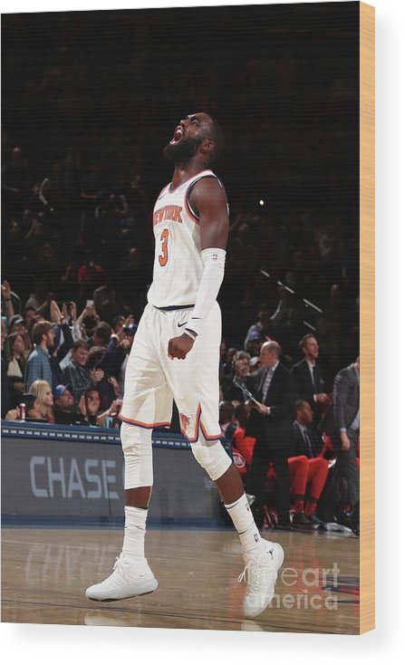 Tim Hardaway Jr. Wood Print featuring the photograph Toronto Raptors V New York Knicks by Nathaniel S. Butler