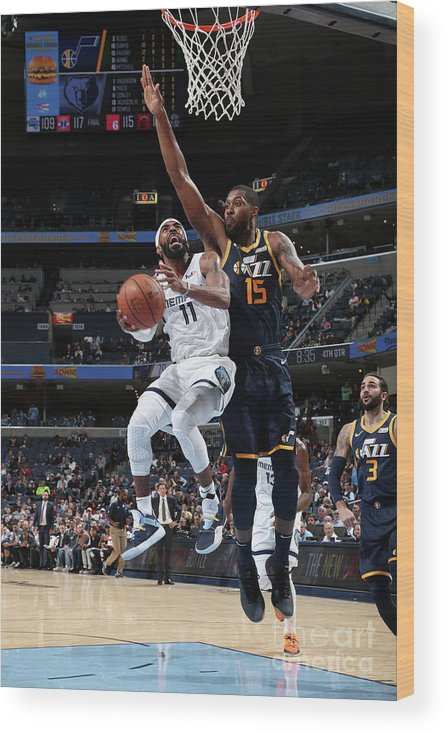 Nba Pro Basketball Wood Print featuring the photograph Utah Jazz V Memphis Grizzlies by Joe Murphy