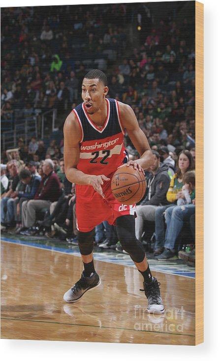 Nba Pro Basketball Wood Print featuring the photograph Washington Wizards V Milwaukee Bucks by Gary Dineen