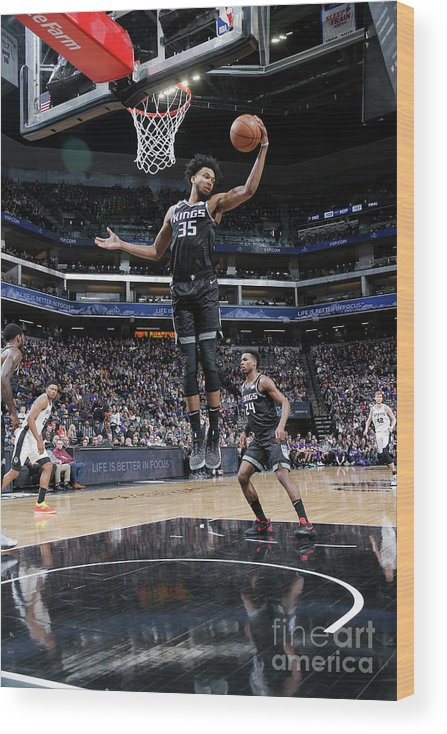 Nba Pro Basketball Wood Print featuring the photograph San Antonio Spurs V Sacramento Kings by Rocky Widner