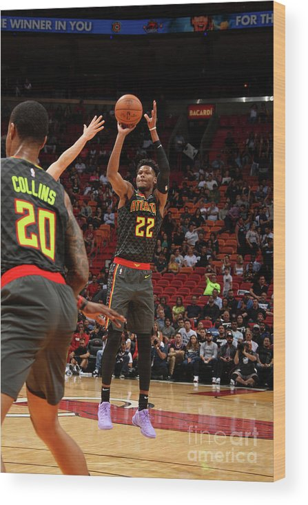 Nba Pro Basketball Wood Print featuring the photograph Atlanta Hawks V Miami Heat by Oscar Baldizon