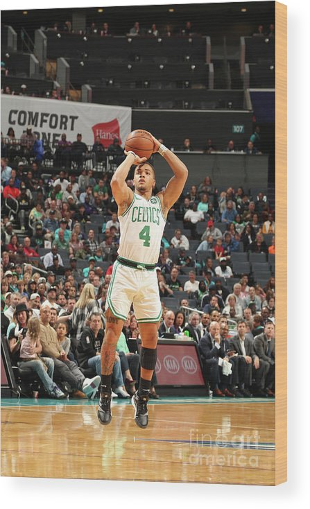 Nba Pro Basketball Wood Print featuring the photograph Boston Celtics V Charlotte Hornets by Kent Smith