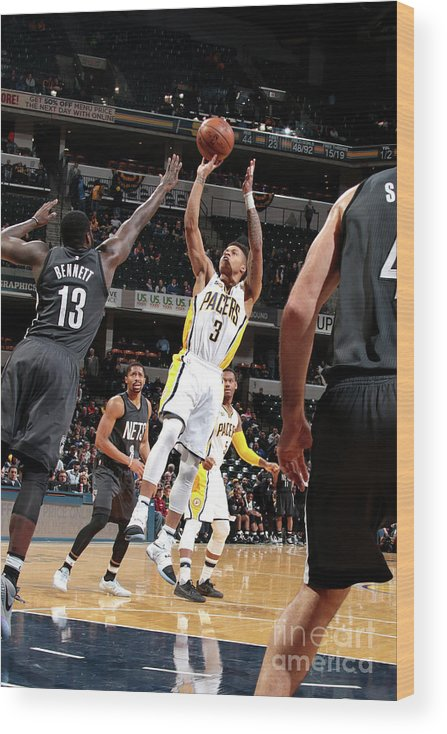 Nba Pro Basketball Wood Print featuring the photograph Brooklyn Nets V Indiana Pacers by Ron Hoskins